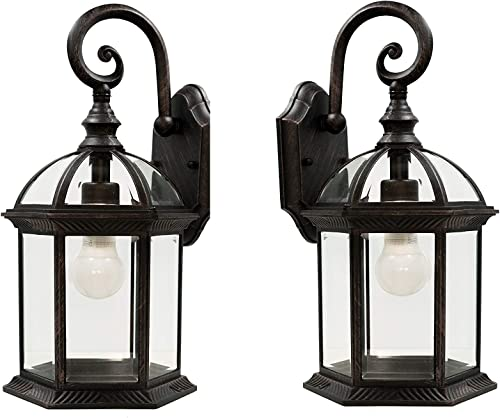 Wall Lanterns Weather-Resistant Outdoor Lamps Decorative Scroll Sconce Arm, Scalloped Edges Clear Beveled Glass for Front Porch, Backyard Gardens Rust 2 Pack