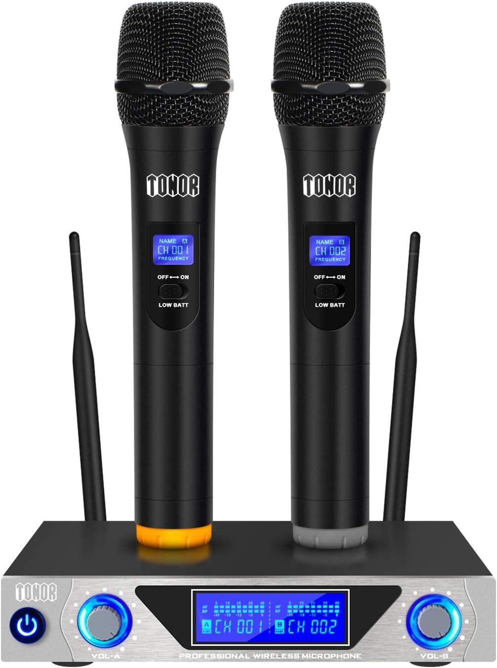 TONOR Sistema de Micrófono Inalámbrico de Mano VHF con Micrófonos Dinámicos de Mano doble y Pantalla LED para Karaoke Fiesta Clase Reunión,Negro