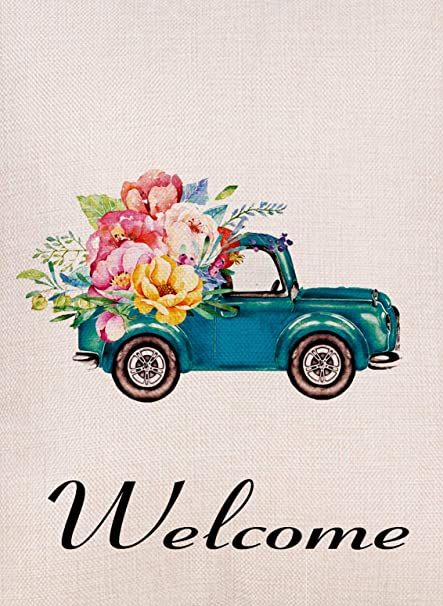 9bc95939a81 Furiaz Home Decorative Vintage Watercolor Truck Flowers Small Garden Flag  Double Sided