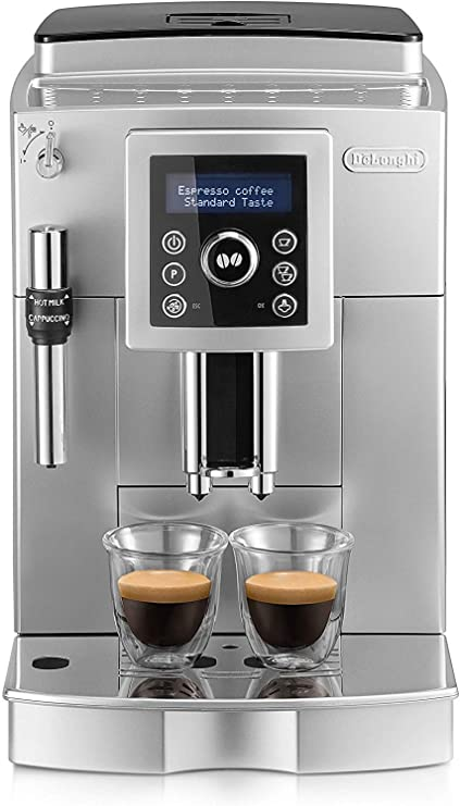 Delonghi - Cafetera Superautomática 15 Bares de Presión, Espresso y Cappuccino, Depósito de Agua Extraíble 1.8 l, Panel LCD, Dispensador de Café Ajustable, Limpieza Automática, ECAM 23.420.SB, Plata: Amazon.es: Hogar
