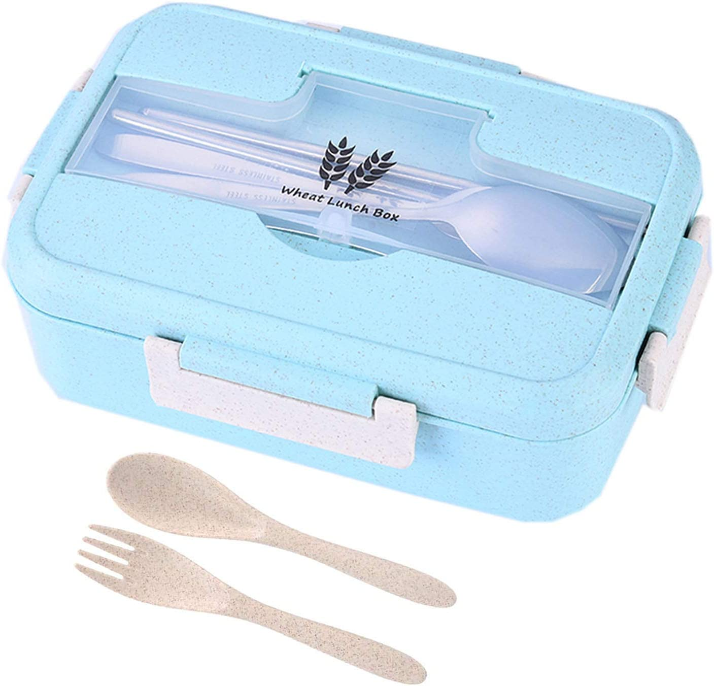 Fiambrera Infantil Caja de Bento,Infantil Paja de Trigo loncheras,Bento Box con 3 Compartimentos y Cubiertos, para el Trabajo, Escuela, Viajes (Verde)