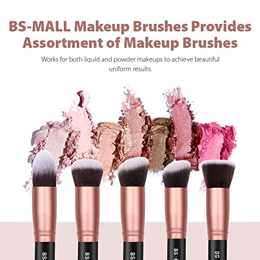 Amazon.com: BS-MALL Makeup Brushes Premium Synthetic Foundation Powder Concealers Eye Shadows Makeup 14 Pcs Brush Set, Rose Golden, 1 Count: Beauty