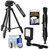 """Sony VCT-VPR1 57"""" Video Remote Control Tripod with 3-Way Pan/Tilt Head & Case with LED Video Light + Lens Pen + Kit"""