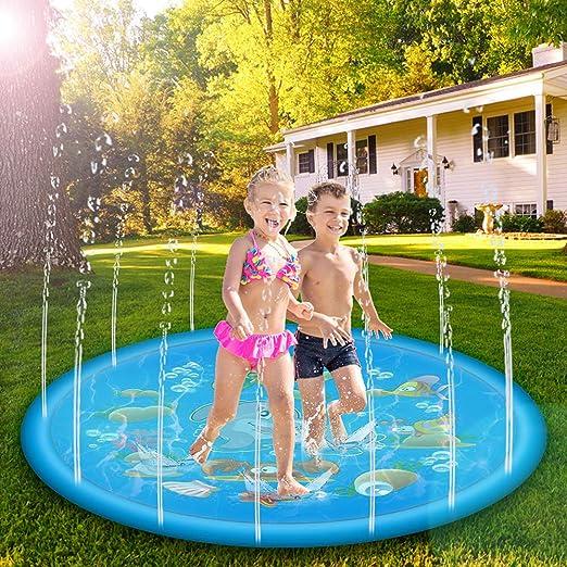 Vivibel Splash Pad, Alfombra de Juegos de Agua, para Jugar, para Exteriores, Actividades Familiares, Fiestas, Playa, jardín (170 cm): Amazon.es: Jardín
