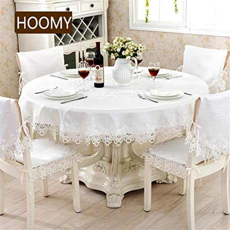 Hoomy Modern Round Tablecloth Ivory White Jacquard Table Cloth For Dinning  Table Roamntic Lace Table Overlays