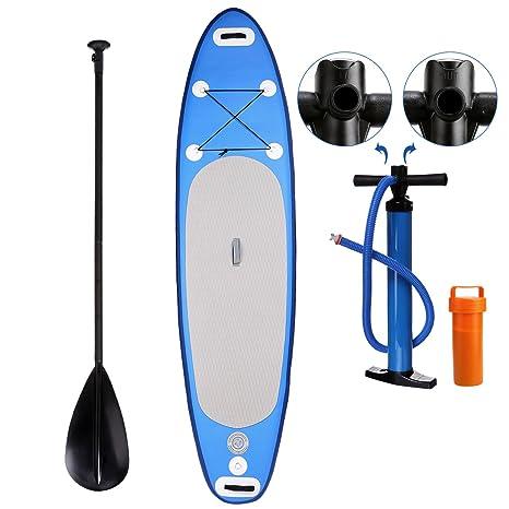 Profun Tabla Hinchable Paddle Surf Tabla de Surf SUP Set Stand Up Paddle Surf Board de 3M con Paddle Ajustable+Bomba de Aire+Remo+Mochila (Tipo1 Azul): ...