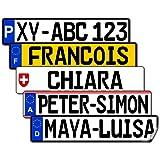 Satz Nummernschild Aufkleber (2 Stück) für vorne und hinten (Deutschland, ca. 10 x 2,2 cm) - Mit Name/Wunschtext