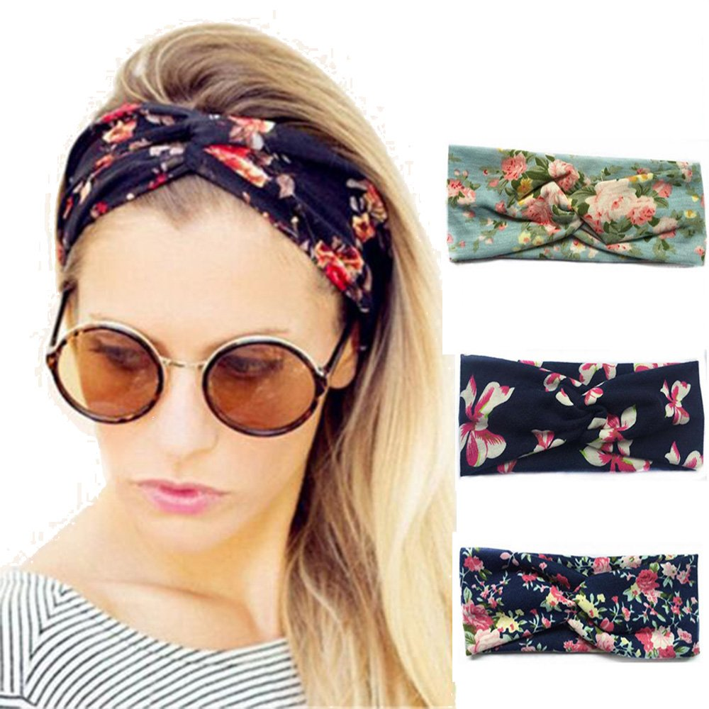 Pack of 3 Women's Headbands Elastic Turban Head Wrap Floal Style Hair Band LXMY