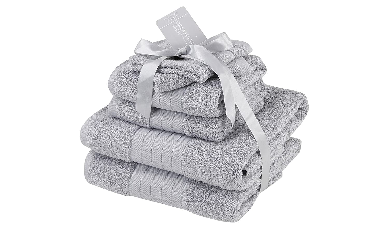 Dreamscene Luxury Super Soft 6 Piece Hand Bath Towel Bale 100% Egyptian Cotton Silver, 485 gsm Pin Mill Textiles Ltd 5027434099122