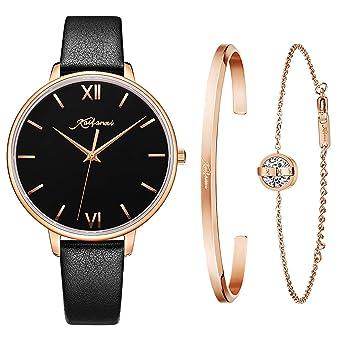 Damen Uhren Schwarzes Ultra Thin Kaifanxi Analog Quarzuhr e29WHIYED