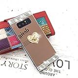 Galaxy Note 8 ケース リング付き キラキラ 可愛い ギャラクシー ノート8 ケース ミラー [ SC-01K SCV37 ] 対応 擦り傷防止 スタンド機能 軽量 超薄型 サムスン Note8 衝撃吸収ケース おしゃれ 携帯カバー ゴージャス 恋heartリング MICC573