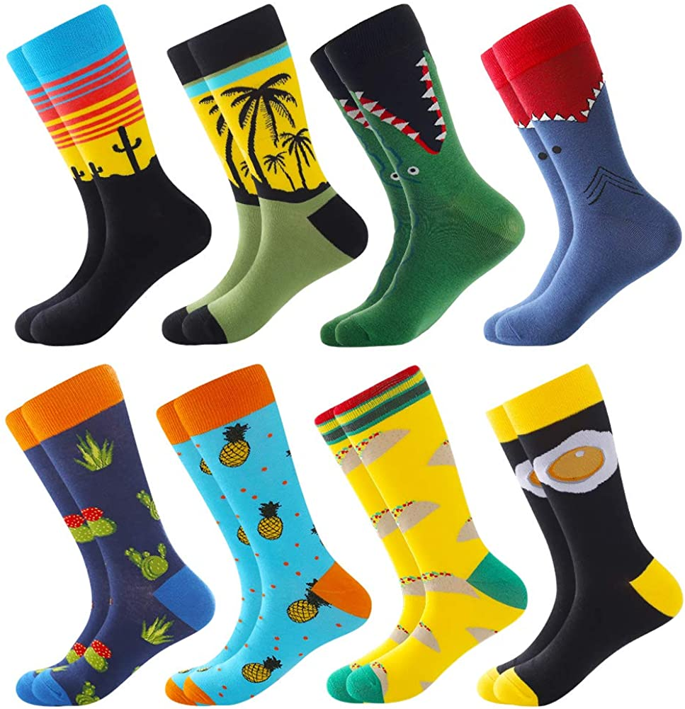 Men's Fun Dress Socks Crew Colorful Funky Fancy Novelty Funny Casual Patterned Socks for Men