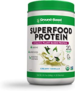 Superfood Protein, Plant-Based Protein Powder – Superfood + Greens for Immune Support – Lean, Organic, Vegan, Keto, Paleo, Lactose-Free, No Sugar, Low Calorie Protein Powder, Non-GMO, Gluten Free (20 Servings, Creamy Vanilla)