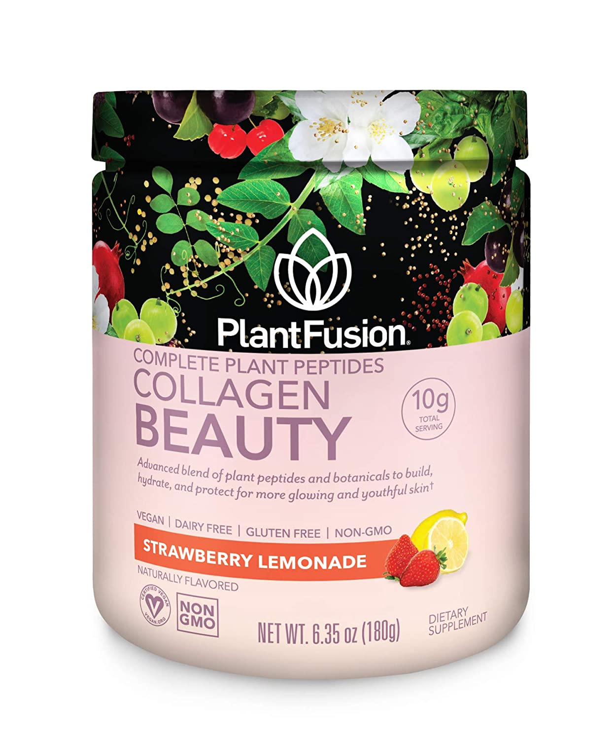 PlantFusion Collagen Beauty Plant Peptides Powder | Vegan Collagen Supplement for Skin Hydration, Elasticity, and More Glowing and Youthful Skin| Gluten-Free, Non-GMO | Strawberry Lemonade, 6.35 Oz