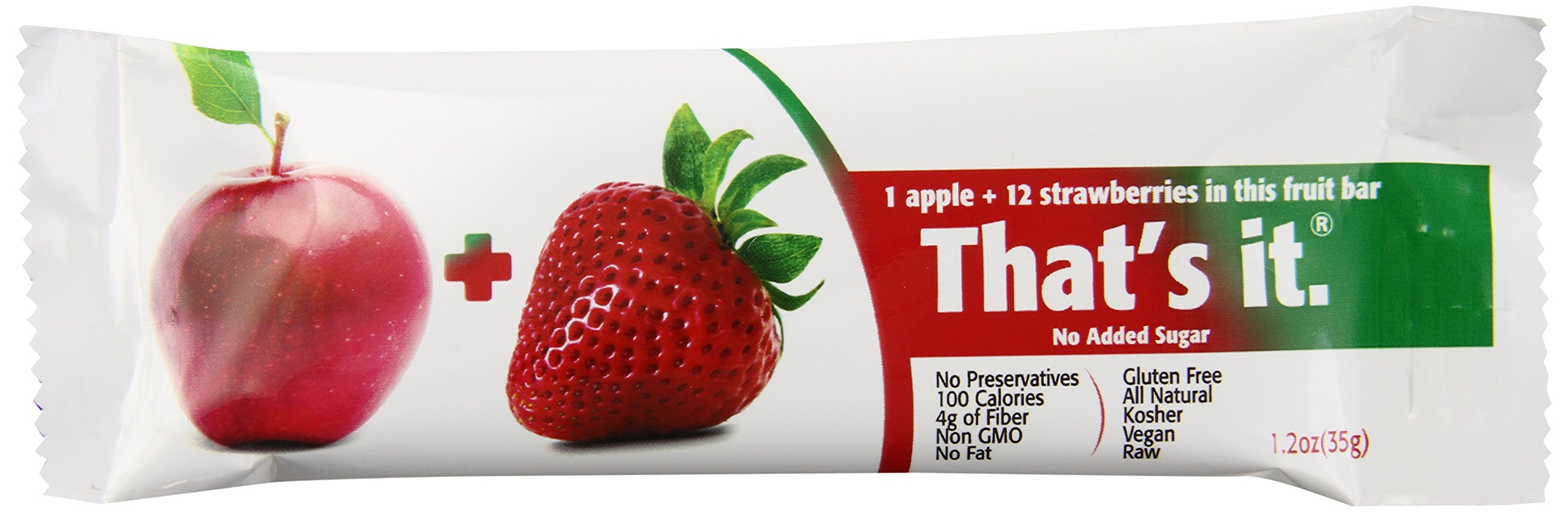 Apple and Strawberry That's It. Fruit Bars - 100% Natural Great Tasting Healthy Real Fruit Bar - Vegan Gluten Free Paleo Kosher Non GMO 100 Calories No Preservatives and No Added Sugar - Pack of 12
