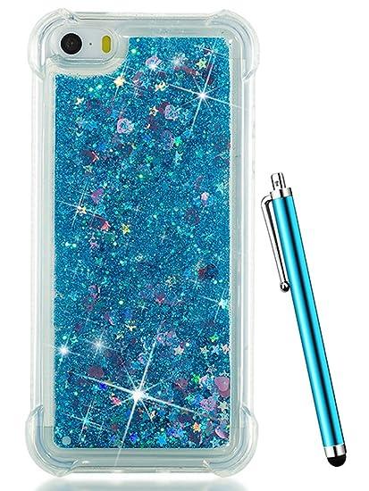 big sale 49990 a60b3 iPhone SE Case, iPhone 5S Case,iPhone 5 Case,CAIYUNL Clear Transparent TPU  3D Bling Glitter Sparkle Quicksand Cute Flowing Liquid Boy Girls Men Cover  ...