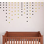 DCTOP Wall Decals Wall Stickers Removable Home Decoration Easy to Peel Stick Painted Walls Metallic Vinyl Polka Wall Decor Sticker for Baby Kids Nursery Bedroom (Gold&Black Small Docts)