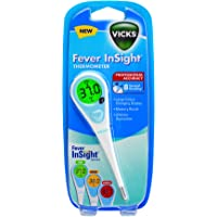 Vicks Fever Insight Thermometer | Fast Temperature Reading in 8 Seconds, Large Colour Changing Display, Gentle and Easy to Use, Professional Accuracy, Memory Recall