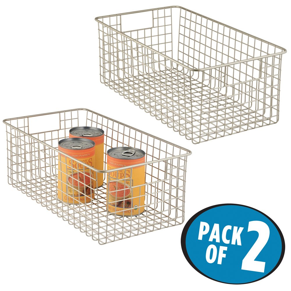 Kitchen Cabinet Baskets: MDesign Wide Wire Storage Basket For Kitchen, Pantry