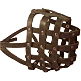 """Real Leather Dog Basket Muzzle #115 Brown (Circumference 18"""", Snout Length 4.7"""") XXLarge Mastiff, Great Dane"""