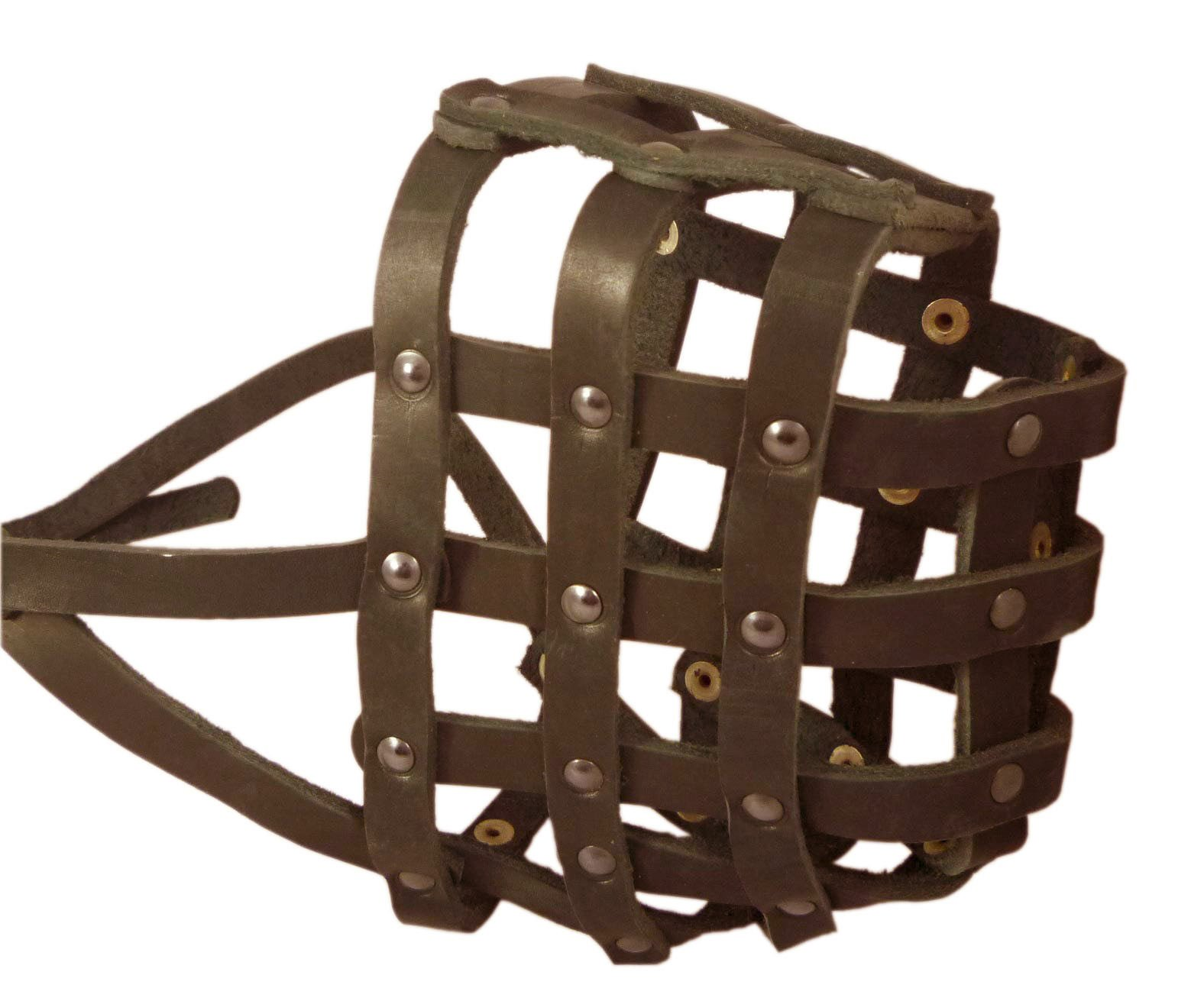 Real Leather Dog Basket Muzzle #115 Brown (Circumference 18'', Snout Length 4.7'') XXLarge Mastiff, Great Dane