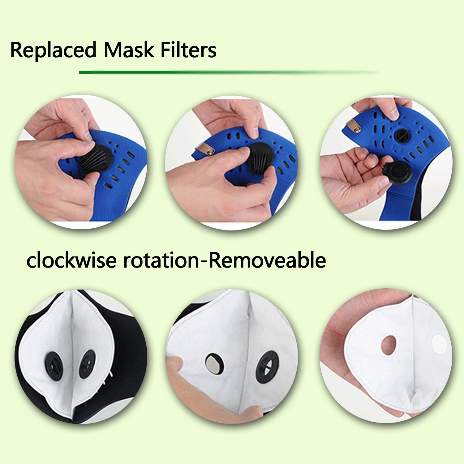 Dustproof Masks - 4 Pack Activated Carbon Dust Mask with Extra Filter Cotton Sheet and Valves for Exhaust Gas, Pollen Allergy, PM2.5, Running, Cycling, Outdoor Activities (4 Set Black and Orange) by Novemkada (Image #5)