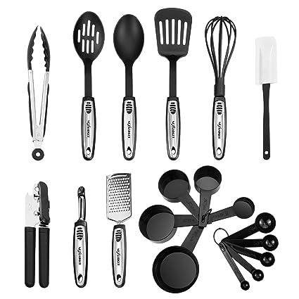 NEXGADGET Set di Utensili da Cucina in Acciaio Inox e Nylon 19 Pezzi ...