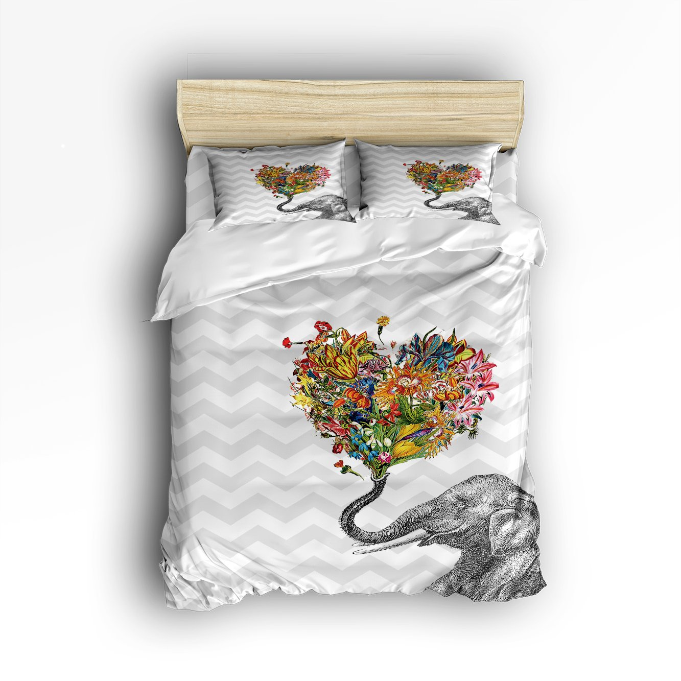 Beauty Decor Bedding 4 Piece bed Set Comfortable Soft Brushed Cotton,Elephant Aztec Floral design 4 Piece Bed Sheet Set Duvet Cover Flat Sheet and 2 Pillow Cases