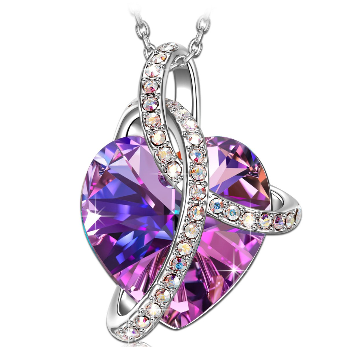 SIVERY Birthday Gifts 'Love Heart' Women Jewelry Necklace Pendant with Swarovski Crystals, Christmas Day Gifts for Mom
