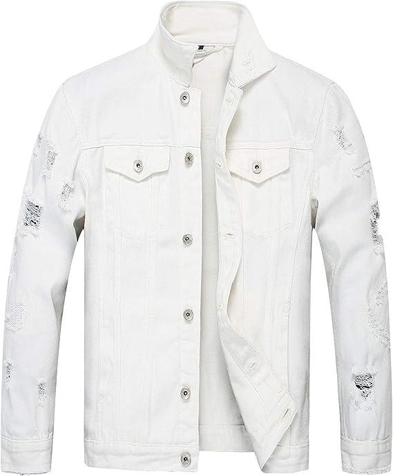 Flygo メンズ ダメージ加工デニムジャケット カジュアルボタンダウントラッカージーンズジャケット カウボーイコート