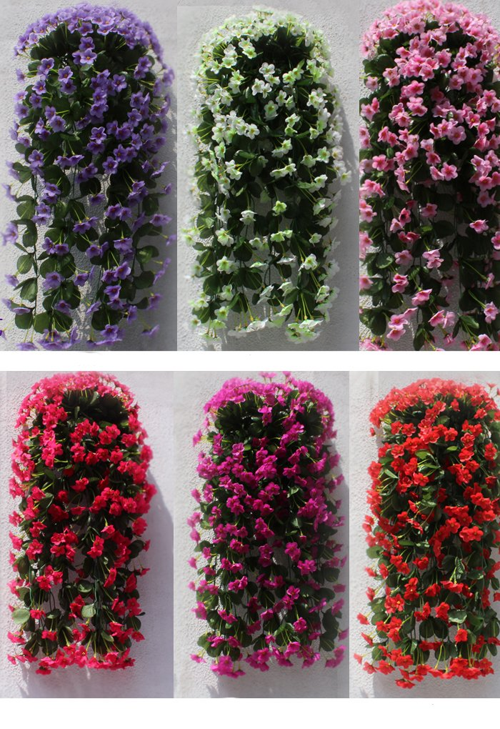 Colorfulife 2pcs Artificial Lifelike Silk 29'' Violet Orchid Ivy Hang Flower Vine Rattan Cane Garland Wall Hanging Plant Wedding Party Home Garden Room Balcony Decoration,7 Colors (Purple) by Colorfulife