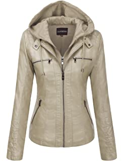 Tanming Womens Removable Hooded Faux Leather Jackets