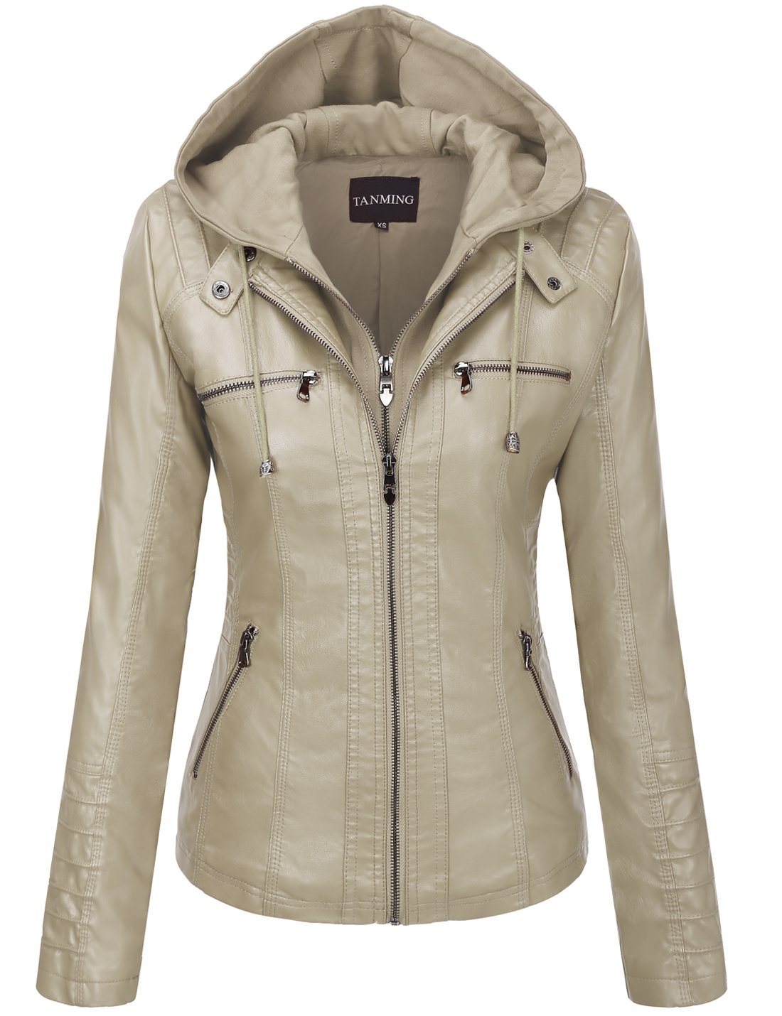 Tanming Women's Hooded Faux Leather Jackets (XX-Large, Apricot) by Tanming