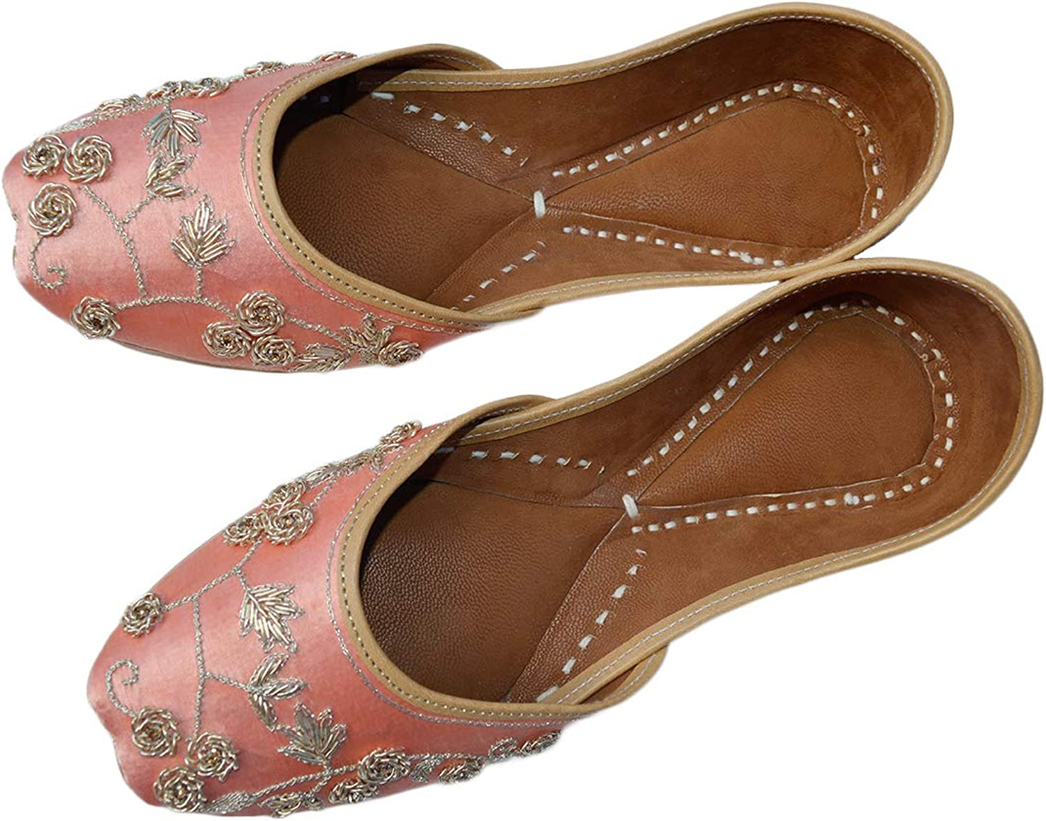 The Krafts Indian Ethnic Embroidered Jutti Mojari Ballet Flats Traditional Pump Shoes for Women