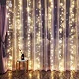 Outop 24V Safe Version 300LED 3X3M/9.8X9.8ft Window Curtain Icicle Lights with 8 Modes Setting for Wedding Party Garden Home Improvement(Warm White)