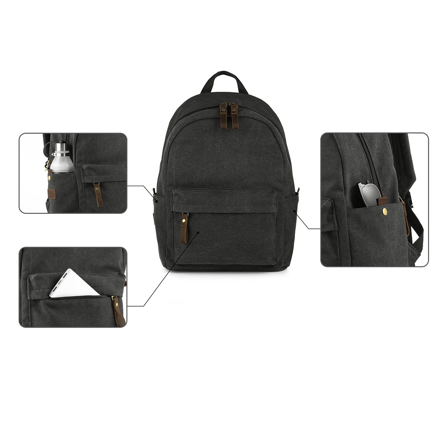 SMRITI Canvas 15.6 inch Laptop Backpack Casual Daypack for School Work and Travel - Dark Grey by SMRITI (Image #8)