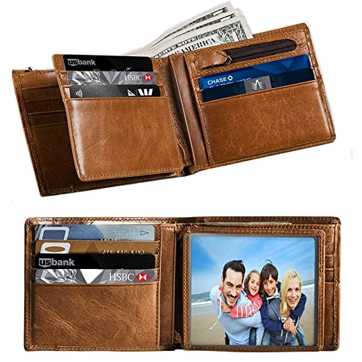 4e0045a1c55c Mens Wallet Bifold RFID Genuine Leather Wallets for Men Card Case Holder as  Gift with ID Window