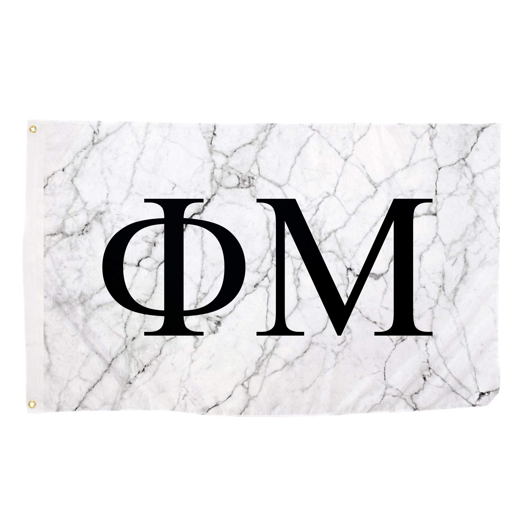 Phi Mu Light Marble Sorority Letter Flag Banner 3 x 5 Sign Decor