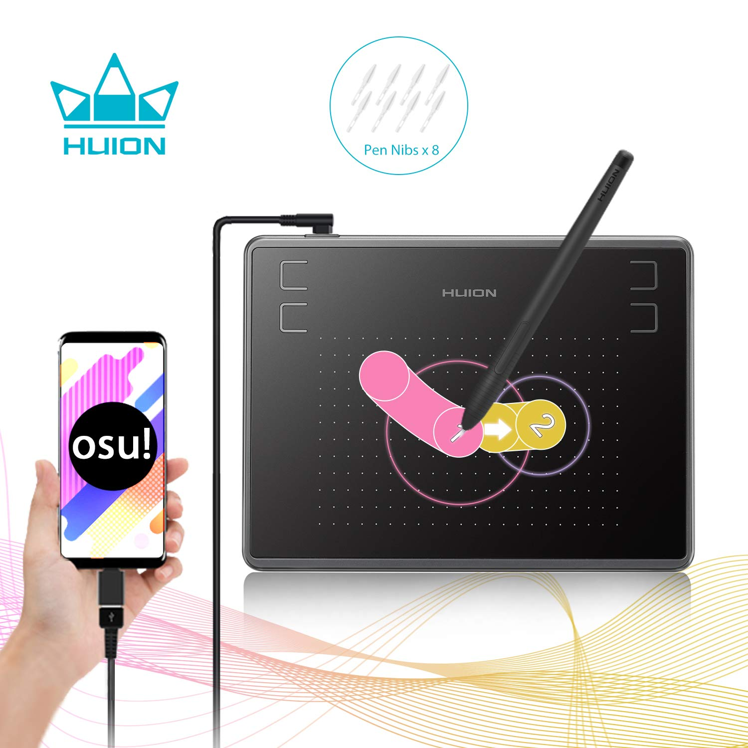 Huion Inspiroy H430P OSU Graphic Drawing Tablet with Battery-Free Stylus  After Firmware Updated Android Devices Supported