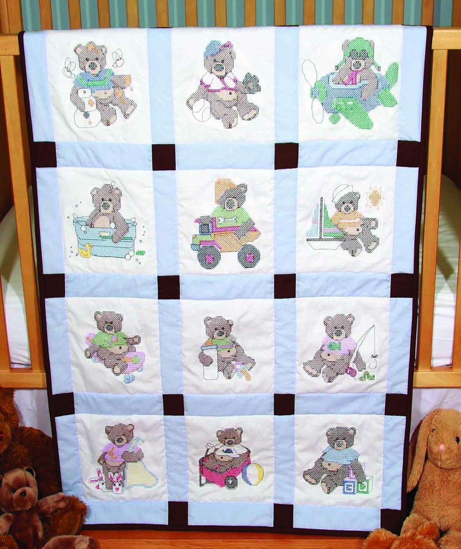 Amazon Fairway 92310 Baby Quilt Block Cross Stitch Boy Bear