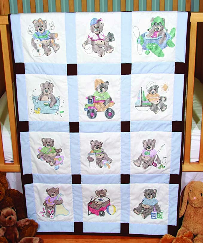 Baby Quilt Blocks.Fairway 92310 Baby Quilt Block Cross Stitch Boy Bear Design Twelve Blocks White