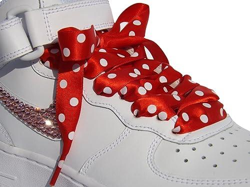 501e35b184b3b Stunning High Fashion Red Polka Dot Coloured Flat Satin Ribbon Shoelaces