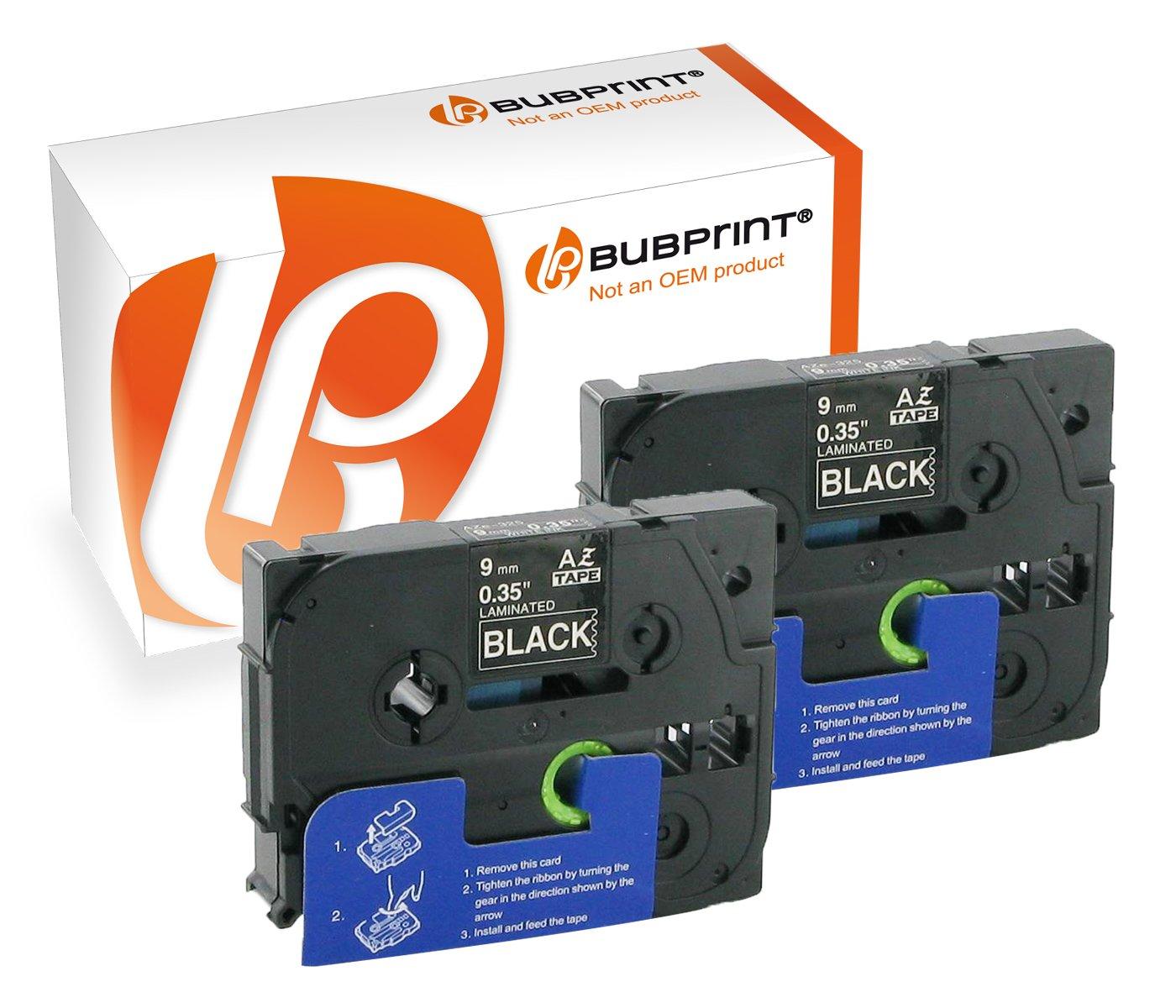 2 x Bubprint ruban encreur pour imprimante brother tZ - 325 tZ325 blanc/noir 9 mm-lot de 2 kein Brother Original