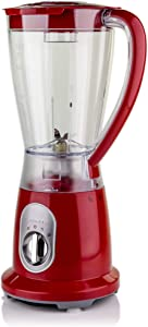 Ovente Professional Smoothies Blender 1.5 Liter Heavy-Duty Stainless Steel Blades with 2 Blending Speed Settings, BPA-Free Blender Jar, 400 Watts Motor, Soft-Touch Handle, Red (BLH1602R)