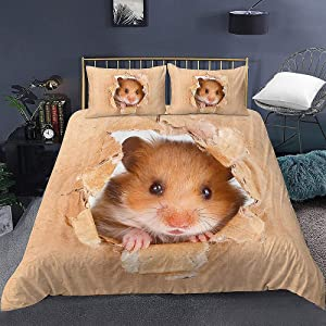 Skyinbags Bedding Set,Modern 3D Cute Hamster Printed Duvet Cover Set 2/3Pcs with Pillowcase King Size Bedclothes for Home Textiles Quilt Cover Bedroom Decor,Us Twin 173X218Cm