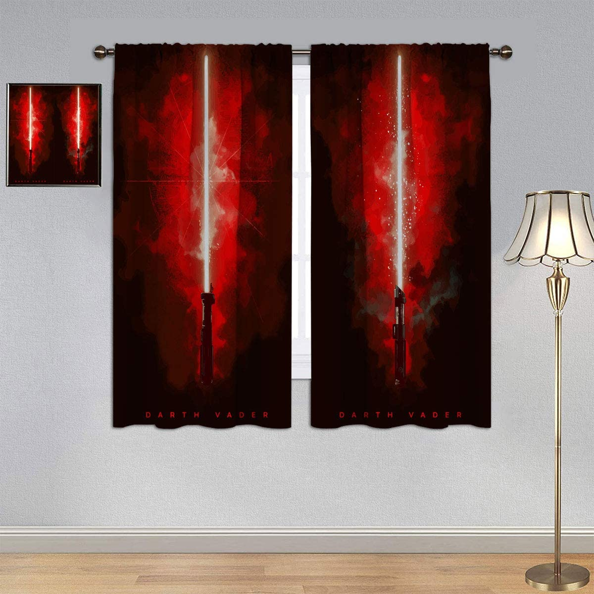 Blackout Window Draperies Star Wars Lightsaber Curtains, Darth Vader Curtains Rod Pocket for Bedroom Living Room 84×84 Inch
