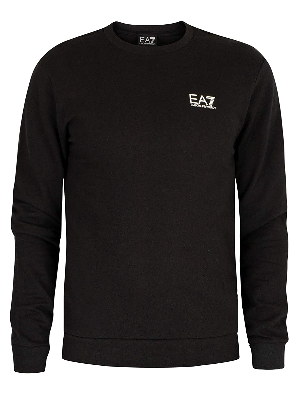 EA7 Uomo Felpa con Logo Nero