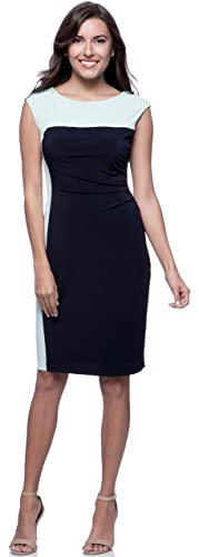 Connected Apparel Petite Navy and Aqua Colorblock Side-ruched Dress