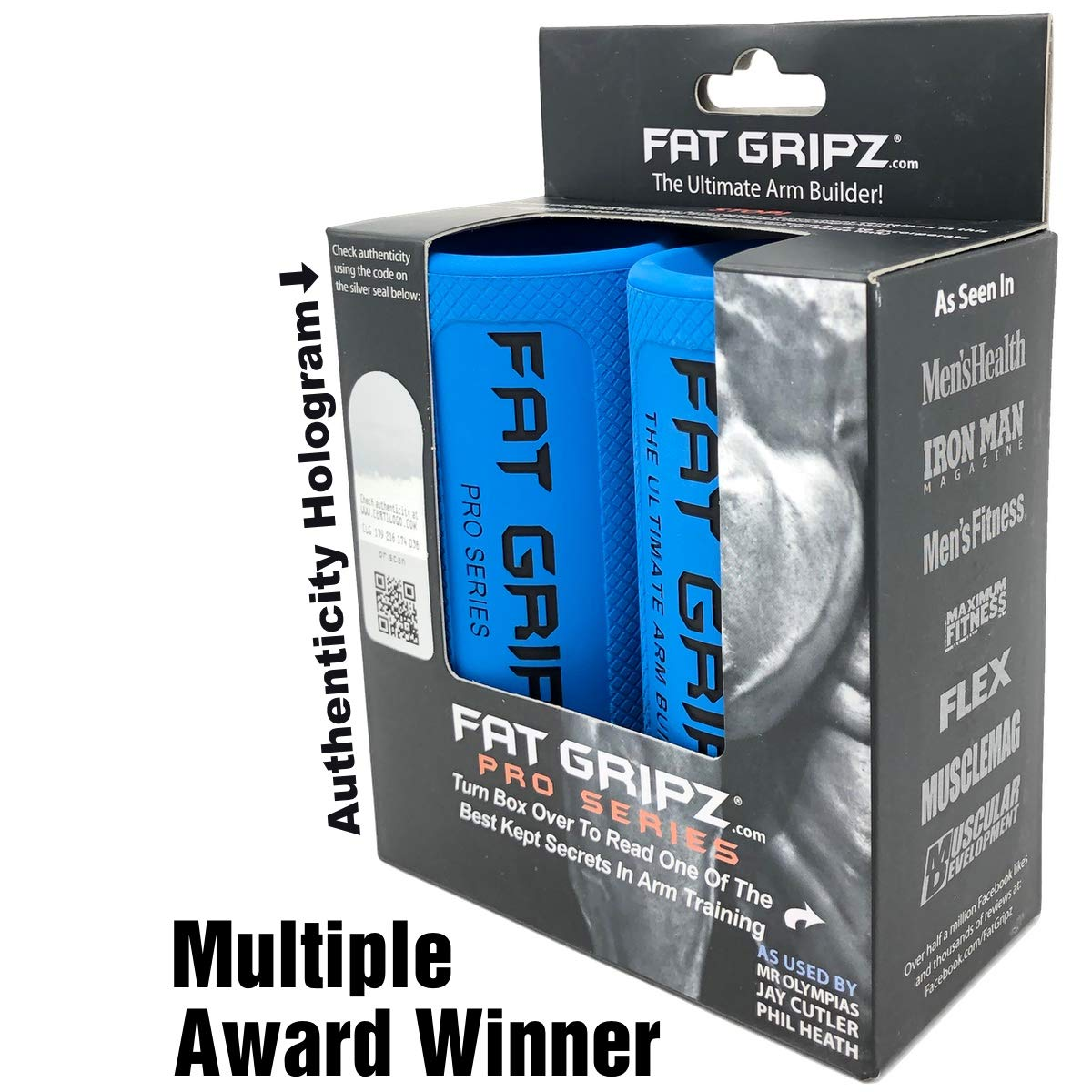 Fat Gripz - The Award-Winning Shortcut to Head-Turning Arms (2.25'' Diameter, Original) (Get The New 2019 Black/Blue Color - See Color Options!)
