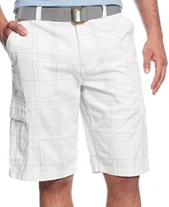 d6bdb547ed Image Unavailable. Image not available for. Color: American Rag Mens Belted  Plaid-Print Cargo Shorts White 29